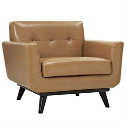 Modway Engage Leather Accent Chair in Tan