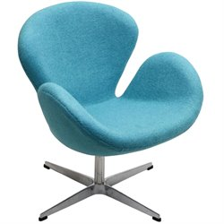 Modway Wing Wool Swivel Accent Chair in Baby Blue