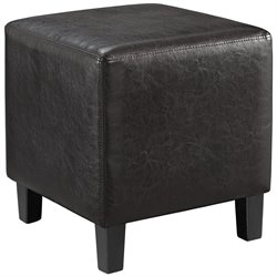 Modway Lodge Square Faux Leather Ottoman in Brown