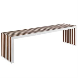 Modway Gridiron Dining Bench in Walnut