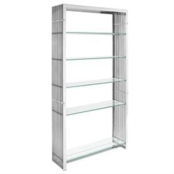 Modway Gridiron 5 Shelf Steel Bookcase in Silver