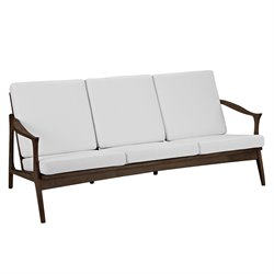 Modway Pace Fabric Sofa in Walnut and White