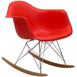 Modway Plastic Rocker in Red