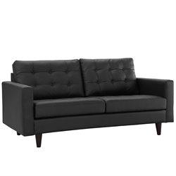 Modway Empress Leather Tufted Loveseat in Black