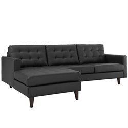 Modway Empress Leather Left Facing Sectional in Black