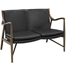 Modway Makeshift Leather Loveseat in Walnut and Black