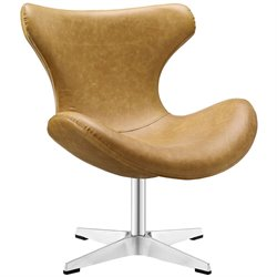 Modway Helm Faux Leather Swivel Accent Chair in Tan