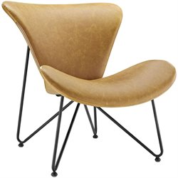 Modway Glide Faux Leather Accent Chair in Tan