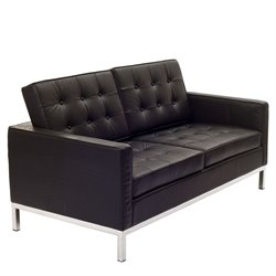 Modway Loft Leather Tufted Loveseat in Black