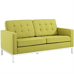 Modway Loft Fabric Tufted Loveseat in Wheatgrass