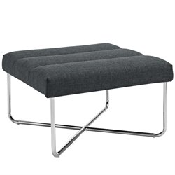 Modway Reach Square Fabric Ottoman in Gray