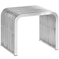 Modway Pipe Metal Bench in Silver