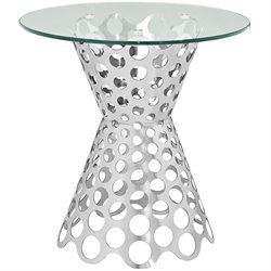 Modway Arrange Round Glass Top End Table in Silver