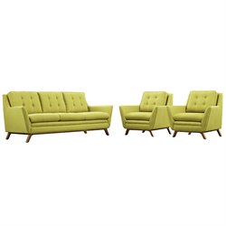Modway Beguile 3 Piece Fabric Sofa Set in Wheatgrass