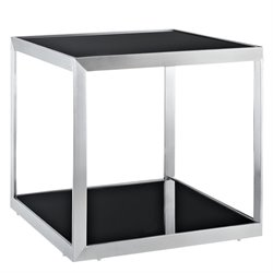 Modway Open Box Square Glass Top End Table in Black