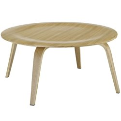Modway Plywood Round Coffee Table in Natural