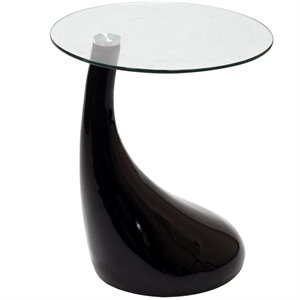 Modway Teardrop Round Glass Top End Table
