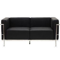 Modway Charles Leather Loveseat in Black