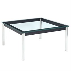 Modway Charles Square Glass Top Coffee Table in Black