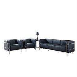 Modway Charles 4 Piece Leather Sofa Set in Black