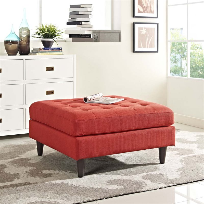 Modway Empress Large Square Upholstered Ottoman in Atomic Red