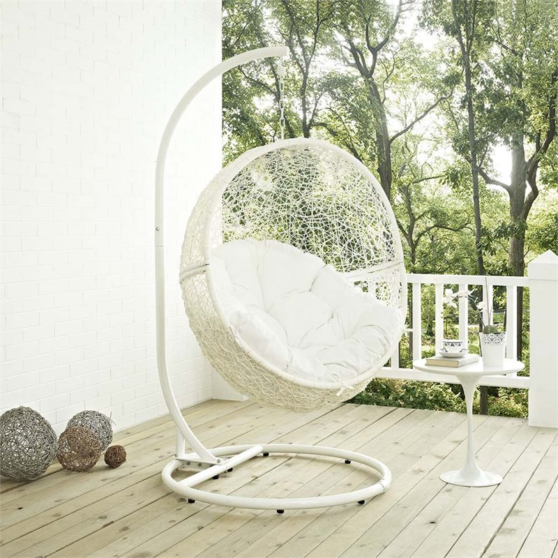 modway hide patio swing chair with stand in white - Patio Swing Chair