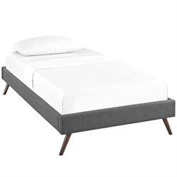 Modway Helen Fabric Upholstered Platform Bed in Gray with Round Splayed Legs