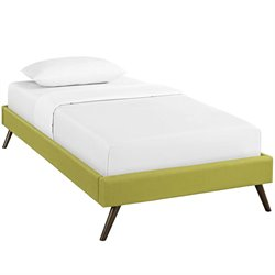 Modway Helen Fabric Upholstered Platform Bed in Wheatgrass with Round Splayed Legs