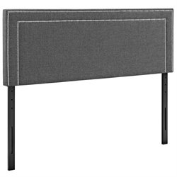 Modway Jessamine Fabric Upholstered Headboard in Gray