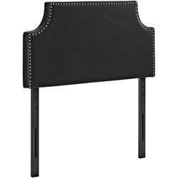 Modway Laura Faux Leather Upholstered Headboard in Black