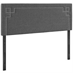Modway Josie Fabric Upholstered Headboard in Gray