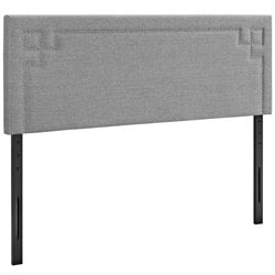 Modway Josie Fabric Upholstered Headboard in Light Gray
