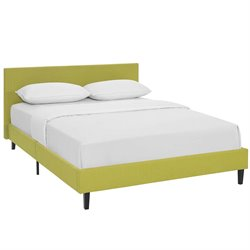 Modway Anya Fabric Upholstered Platform Bed in Wheatgrass