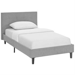Modway Linnea Fabric Upholstered Platform Bed in Light Gray