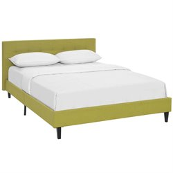 Modway Linnea Fabric Upholstered Platform Bed in Wheatgrass