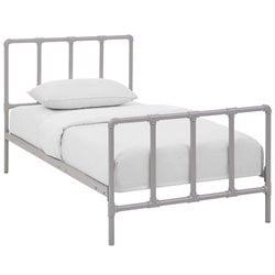 Modway Dower Stainless Steel Metal Bed in Gray