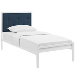 Modway Lottie Fabric Panel Metal Bed in White and Azure