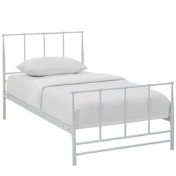 Modway Estate Metal Bed in White