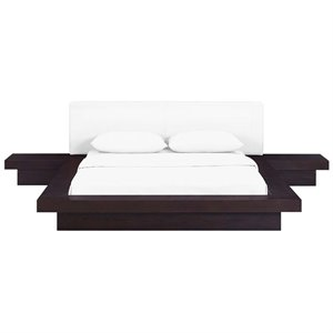 Modway Freja 3 Piece Queen Faux Leather Panel Platform Bed