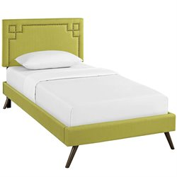 Modway Josie Fabric Upholstered Platform Bed in Wheatgrass with Round Splayed Legs
