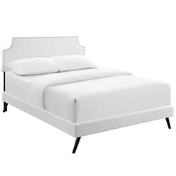 Modway Laura Faux Leather Upholstered Platform Bed in White with Round Splayed Legs