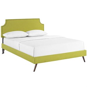 Modway Laura Fabric Upholstered Platform Bed in Wheatgrass with Round Splayed Legs