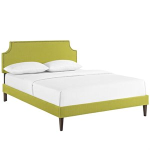 Modway Laura Fabric Upholstered Platform Bed in Wheatgrass with Square Tapered Legs