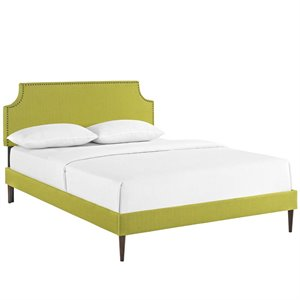 Modway Laura Fabric Upholstered Platform Bed in Wheatgrass with Round Tapered Legs