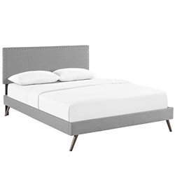 Modway Phoebe Fabric Upholstered Platform Bed in Light Gray with Round Splayed Legs