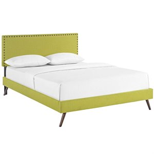 Modway Phoebe Fabric Upholstered Platform Bed in Wheatgrass with Round Splayed Legs