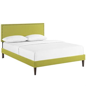 Modway Phoebe Fabric Upholstered Platform Bed in Wheatgrass with Square Tapered Legs