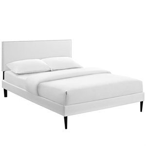 Modway Phoebe Faux Leather Upholstered Platform Bed in White with Round Tapered Legs