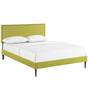Modway Phoebe Fabric Upholstered Platform Bed in Wheatgrass with Round Tapered Legs