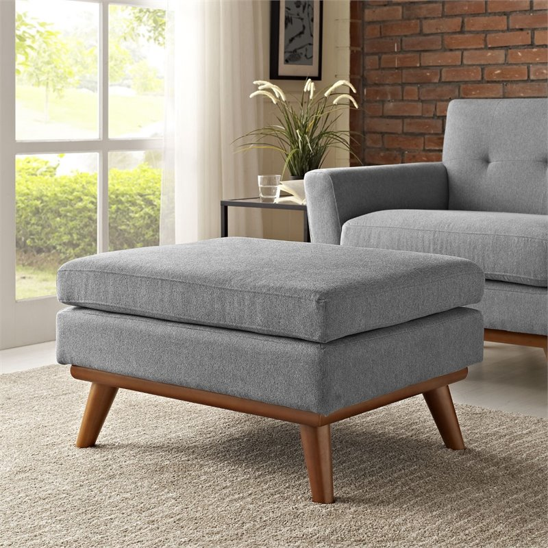 Modway Engage Fabric Upholstered Ottoman in Expectation Gray